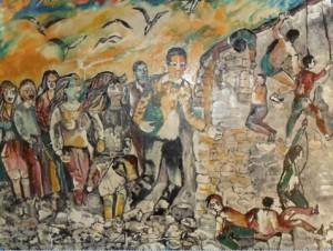 """""""Caduta muro di Berlino""""  olio su tela 60 x80"""