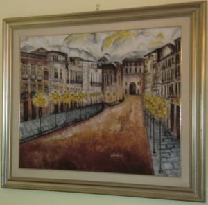 """Giuseppe Ritorto""""Corso Numistrano di Notte"""" olio su tela 80x100"""