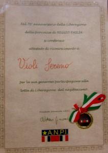 Anpi Bibbiano consegna medaglie Sereno Violi