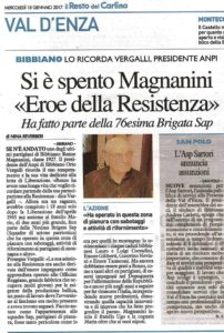 RICORDO DEL PARTIGIANO RENZO MAGNANINI