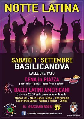 Notte latina Basilicanova Parma sabato 1° settembre 2018