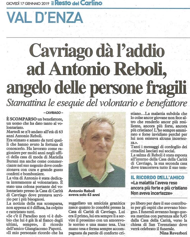 Una vita nel volontariato Antonio Reboli Cavriago 2019