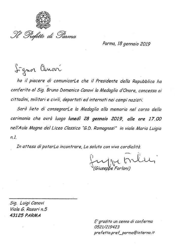 BRUNO,DOMENICO CANOVI medaglia d'onore Parma 2019