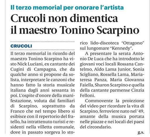 """3° MEMORIAL """"TONINO SCARPINO"""" Torretta di Crucoli Agosto 2019"""
