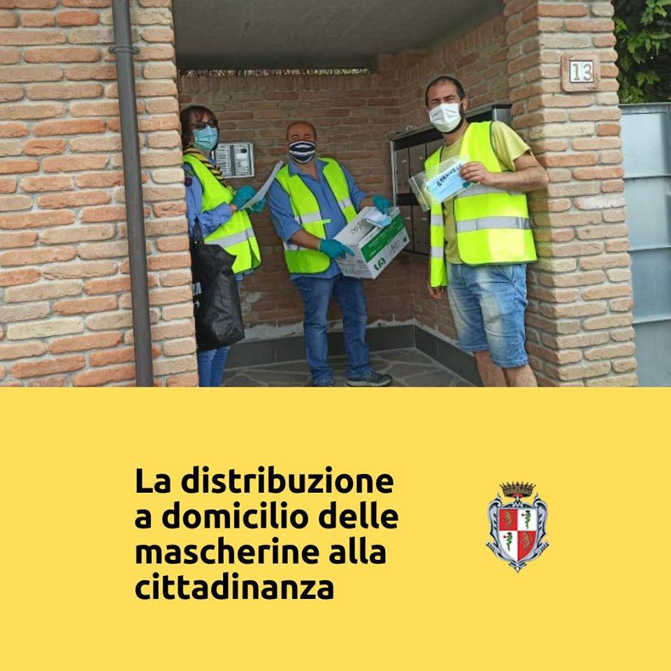 Montechiarugolo volontari e la distribuzione a domicilio delle mascherine