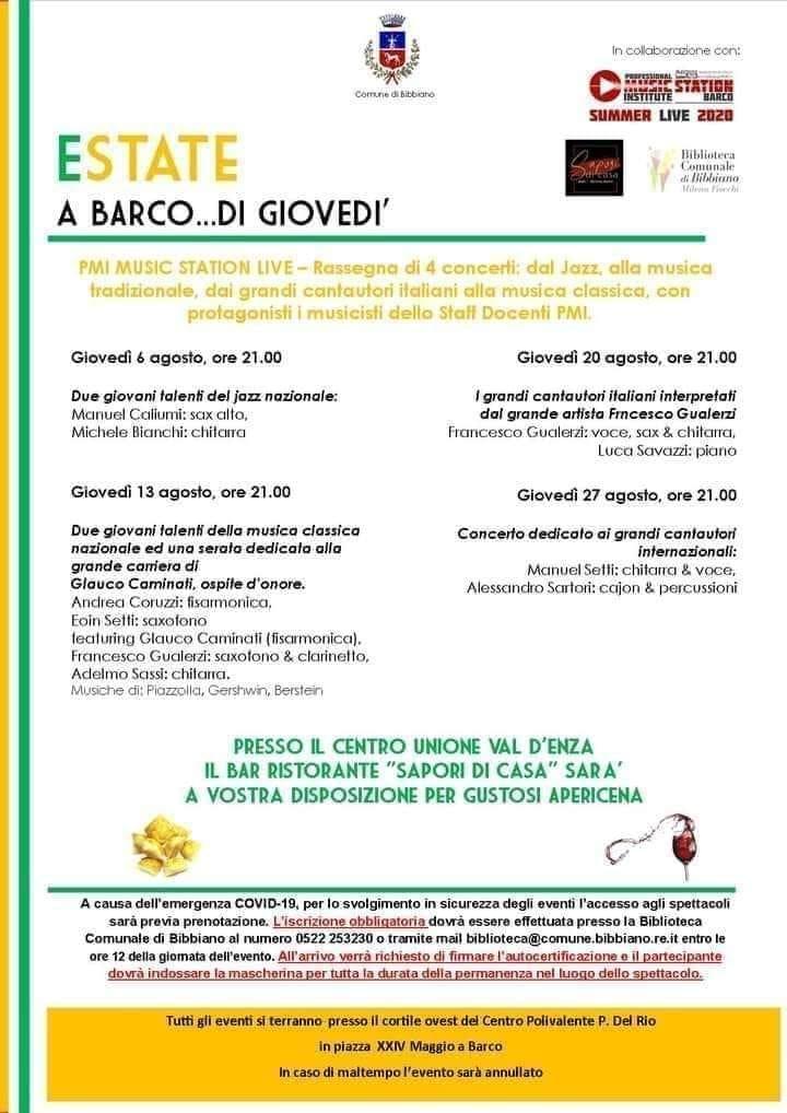 """Serata in compagnia della musica di Manuel Setti chitarra e voce e di Alessandro Sartori percussioni e Cajon, presso il centro unione Valdenza """"Estate a Barco frazione di Bibbiano RE."""