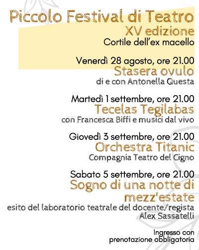 PICCOLO FESTIVAL DI TEATRO - XV EDIZIONE 2020