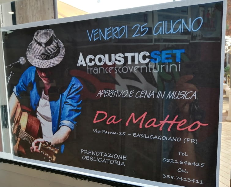 Francesco Venturini,ACUSTIC SET, aperitivo e cena in musica, da MATTEO