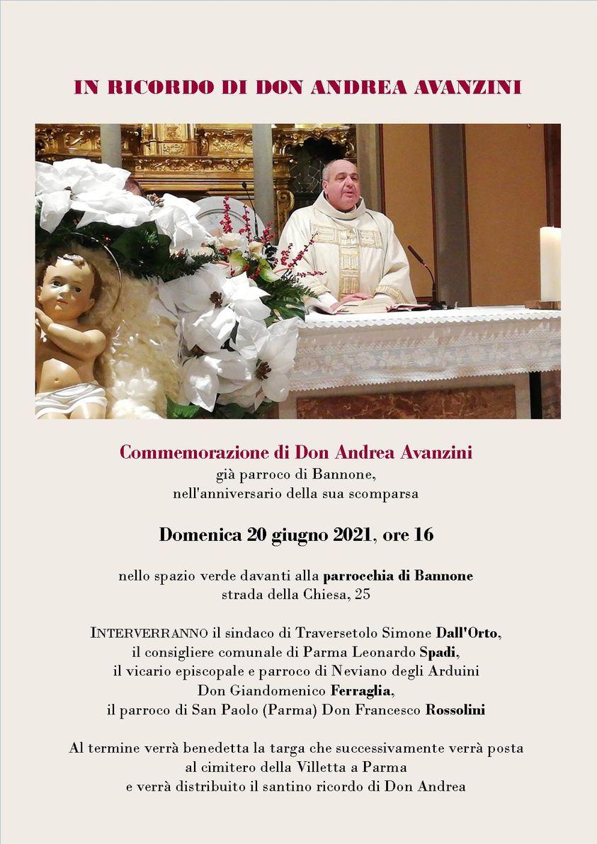 Un ricordo del parroco di Bannone don Andrea Avanzini 2021