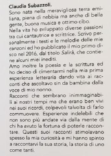 UNO COME TANTI e' il suo primo romanzo Claudia Subazzoli 2021UNO COME TANTI e' il suo primo romanzo Claudia Subazzoli 2021